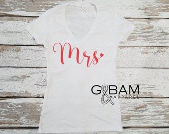 Mrs T-Shirt / Bride gift / Bride Shirt / Bridal Shirts