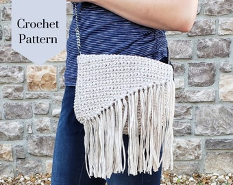 Crochet Pattern: The Everyday Boho Bag/Crochet Handbag/Crochet Crossbody Bag/Crochet Boho Style Purse/Easy Quick Simple Beginner Friendly