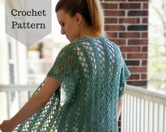 Crochet Pattern: The Summer Ivy Cardi/Lacy Crochet Top/Crochet Summer Top/Crochet Spring Top/Crochet Cardigan/Light Crochet Top
