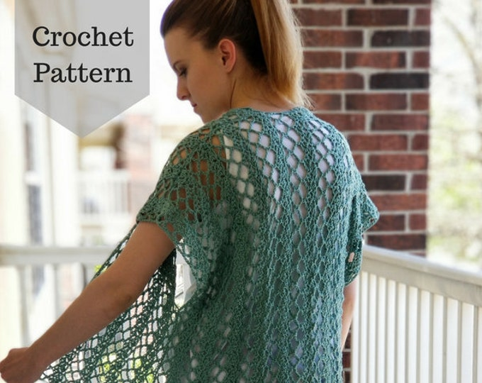 Featured listing image: Crochet Pattern: The Summer Ivy Cardi/Lacy Crochet Top/Crochet Summer Top/Crochet Spring Top/Crochet Cardigan/Light Crochet Top