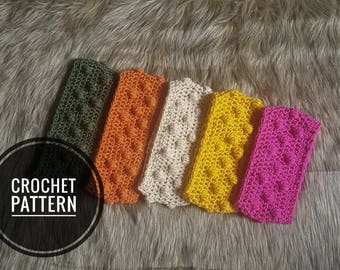 Crochet Pattern: Bobble Headband THE LEANNE HEADBAND Crochet Wide Headband Tutorial with pictures Toddler to Adult sizes included