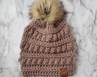 Taupe Bobble Beanie,Women's Hat,Crochet Bobble Hat,Women's Beanie,Bobble Toboggan Hat,Women's Winter Fashion,Winter Hat,Alex & Co Handmade