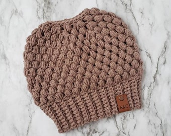 Taupe Crochet Messy Bun Hat,Claire Bun Beanie,Messy Bun Hat,Mom Bun Beanie,Top Knot Beanie,Messy Bun Hat,Ponytail Beanie,Alex & Co Handmade