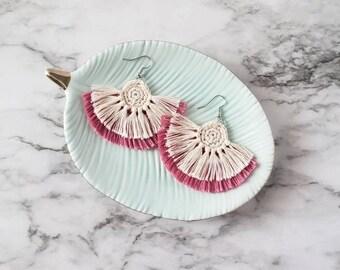 Pink Boho Fringe Earrings, Crochet Earrings, Statement Earrings, Boho Hippie Style Earrings, Dangle Earrings, Alex and Co Handmade