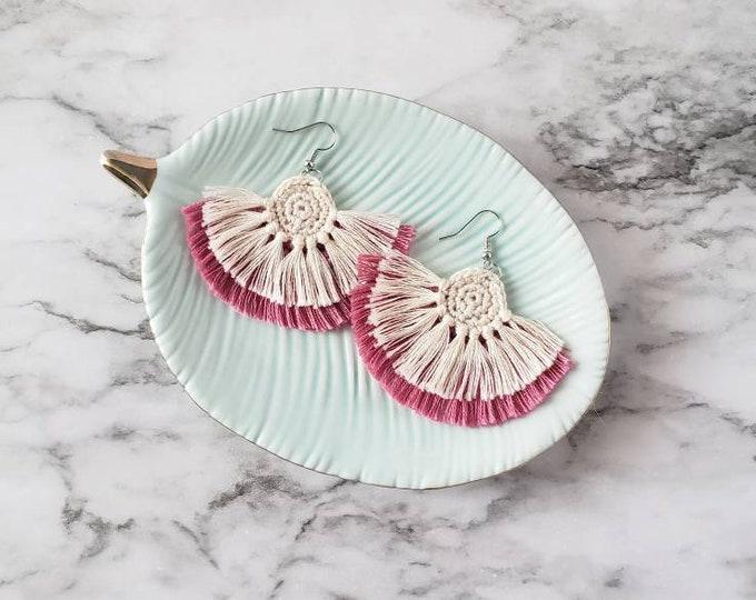 Featured listing image: Pink Boho Fringe Earrings, Crochet Earrings, Statement Earrings, Boho Hippie Style Earrings, Dangle Earrings, Alex and Co Handmade