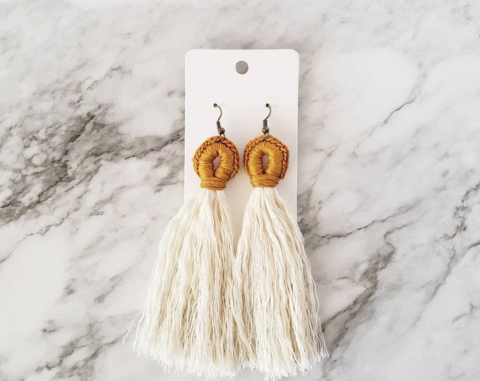 Featured listing image: Tassel Loop Earrings, Boho Hippie Earrings, Tassel Earrings, Dangle Earrings, Statement Earrings, Macrame Style Earring,Alex and Co Handmade