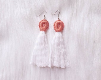 Coral Tassel Loop Earrings - The Summer Collection
