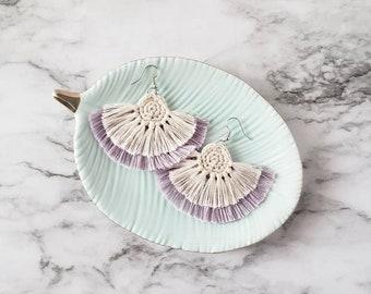 Light Purple Boho Fringe Earrings, Crochet Earrings, Statement Earrings, Boho Hippie Style Earrings, Dangle Earrings, Alex and Co Handmade