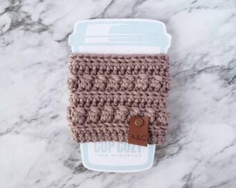 Taupe Crochet Coffee Cup Cozy, Crochet Coffee Cup Sleeve, Bobble Coffee Cup Cozy, Reusable Coffee Cozy, Alex and Co Handmade