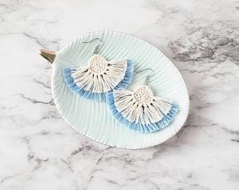 Blue Boho Fringe Earrings, Crochet Earrings, Statement Earrings, Boho Hippie Style Earrings, Dangle Earrings, Alex and Co Handmade