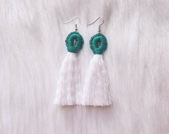 Sea Green Tassel Loop Earrings - The Summer Collection