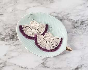 Purple Boho Fringe Earrings, Crochet Earrings, Statement Earrings, Boho Hippie Style Earrings, Dangle Earrings, Alex and Co Handmade