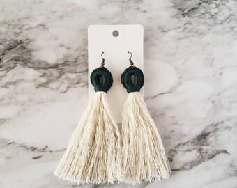 Forest Green Tassel Loop Earrings, Boho Hippie Earrings, Dangle Earrings, Statement Earrings, Macrame Style Earring,Alex and Co Handmade