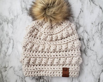 Made To Order:Adult Bobble Beanie,Crochet Bobble Hat,Winter Hat,Women's Hat,Faux Fur Pom Hat,Winter Beanie,Crochet Beanie,Alex & Co Handmade