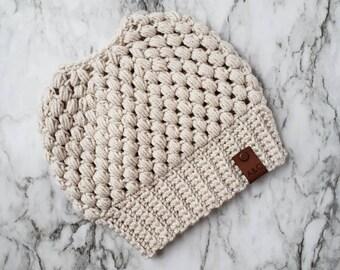 Linen Crochet Messy Bun Beanie