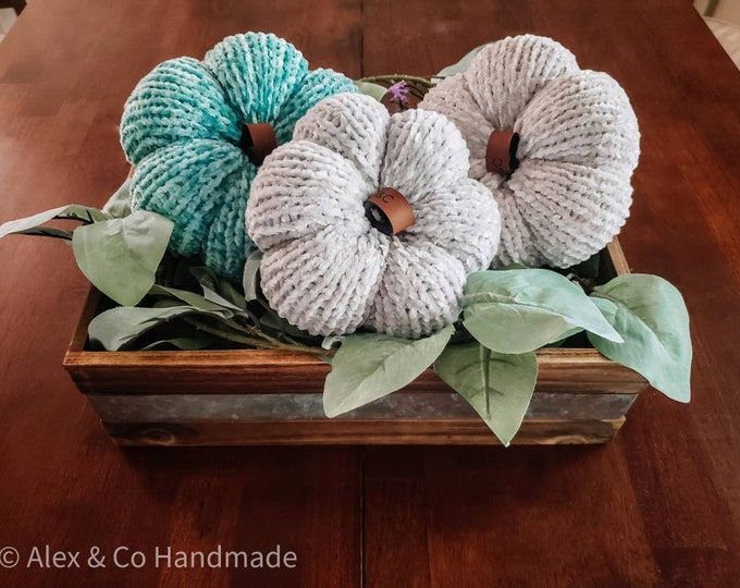 Featured listing image: 3 Piece Knit Pumpkin Set - Teal, Silver, White