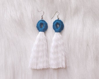 Cobalt Blue Tassel Loop Earrings - The Summer Collection