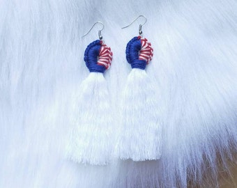 Red, White, and Blue Tassel Loop Earrings - The Summer Collection