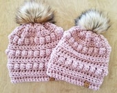Mommy and Mini Me Bobble Beanie Set, Crochet Hat Set, Mom and Daughter Hats, Matching Beanie Set, Alex and Co Handmade