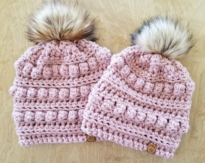 Featured listing image: Made to Order: Mommy and Me Bobble Beanie Set, Crochet Hat Set, Mom and Daughter Hats, Matching Beanie Set, Alex and Co Handmade