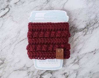 Red Crochet Coffee Cup Cozy, Crochet Coffee Cup Sleeve, Bobble Coffee Cup Cozy, Reusable Coffee Cozy, Alex and Co Handmade
