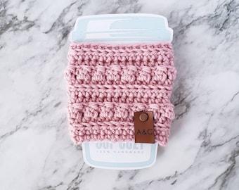 Pink Crochet Coffee Cup Cozy, Crochet Coffee Cup Sleeve, Bobble Coffee Cup Cozy, Reusable Coffee Cozy, Alex and Co Handmade