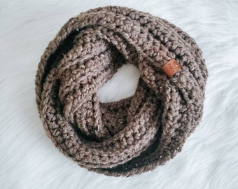 Tweed Brown Chunky Infinity Scarf
