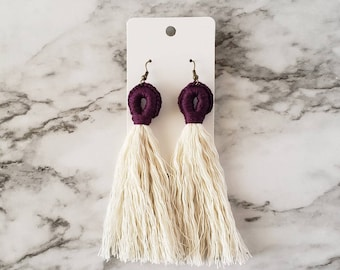 Tassel Loop Earrings, Boho Hippie Earrings, Tassel Earrings, Dangle Earrings, Statement Earrings, Macrame Style Earring,Alex and Co Handmade