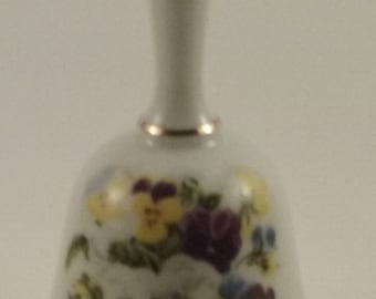 Vintage   Gold trimmed   China   Bell   purple   yellow   white   pansies