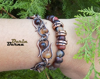 Agate bracelet,Copper agate bracelet,Wire wrapped jewelry,Copper agate women bracelet,Copper agate wire wrapped bracelet,Wire wrapped stone