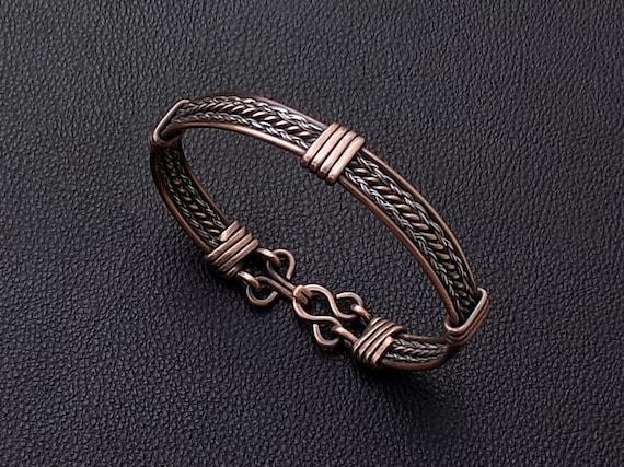 le magasin acheter pas cher site officiel Homme bracelet en acier et de cuivre tressé, hommes bracelet de cuivre,  hommes en acier, bracelet, cadeau mari, bracelet en cuivre, bijoux pour  homme, ...