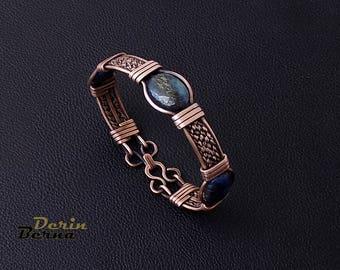 Lapis Lazuli Men Bracelet,Lapis copper men bracelet,Men's Jewelry,Men bracelet,Lapis men Bracelet,Husband gift,Men's Lapis copper bracelets