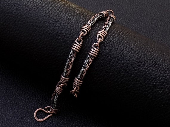 Steel copper chain links men bracelet Mixed metal bracelet Twisted steel cable wire wrapped copper chain cuff men bracelet Gifts for men