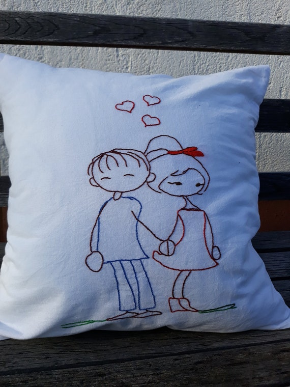 Hand Embroidery Pillow Case Embroidered Pillow Cover Etsy