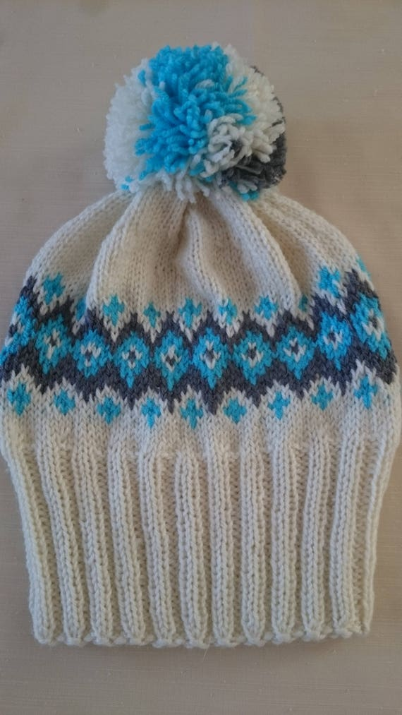 0a5405c3aef Fair Isle Knit Hat Soft Wool Fair Isle Slouchy Beanie Unisex