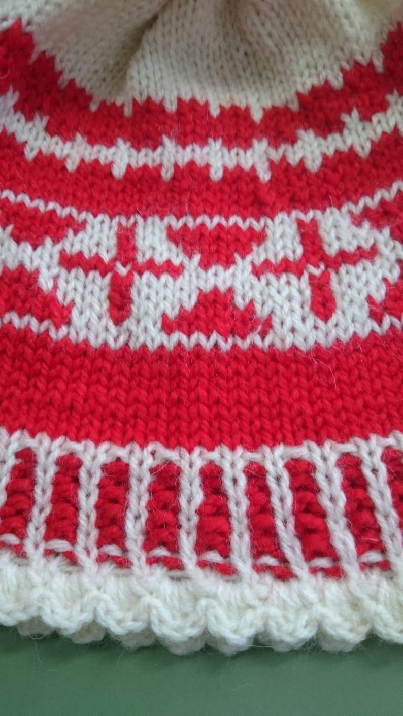 87286109e Fair Isle Hat - Red White Winter Hat for Women - Knit Hat for Women - Women  Red Wool Hat - Floral Knit Hat - Winter Gift - Gift Women