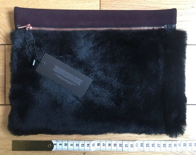 Black fur & maroon wool Pouch