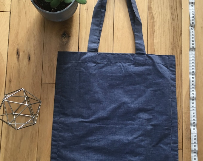 Lightweight waxed cotton blue waterproof Tote Bag with zip compartment