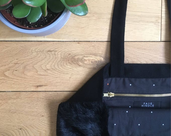 Black rabbit fur Tote bag with suede  straps and backing, fully lined.