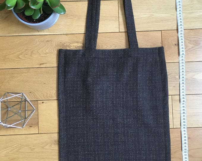 Check wool brown and mustard check Tote Bag vintage fabric with zip compartment