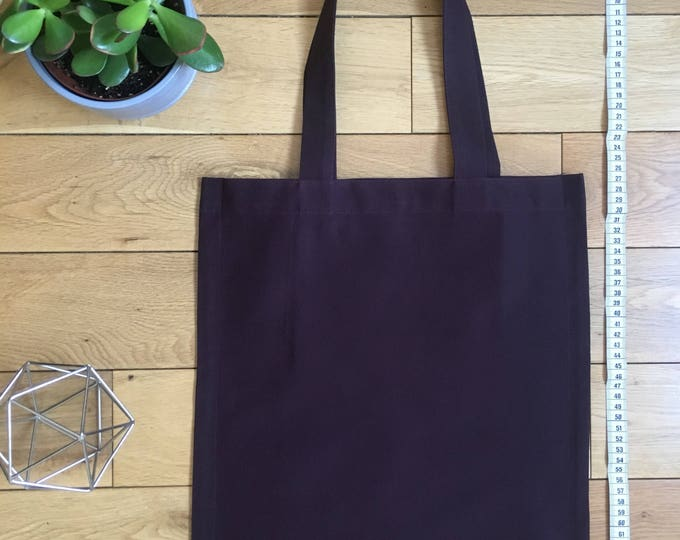 Heavyweight aubergine burgundy brushed cotton Tote Bag with zip compartment