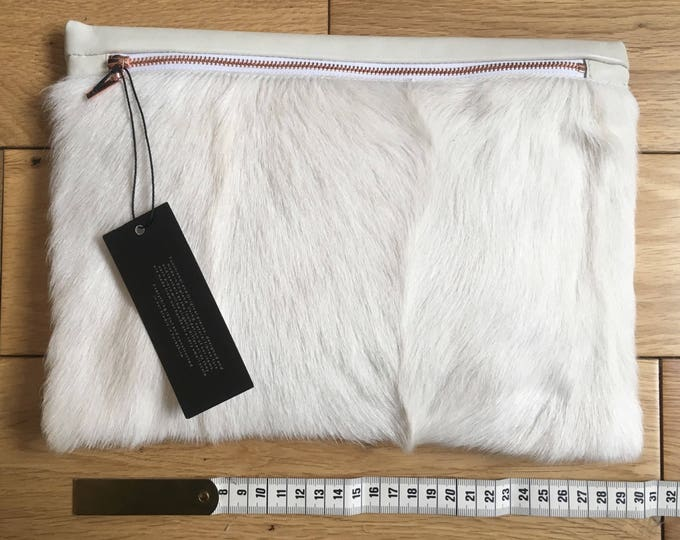 Cream Fur & Cowhide Pouch