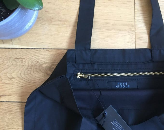 Lightweight waxed cotton black waterproof Tote Bag with zip compartment
