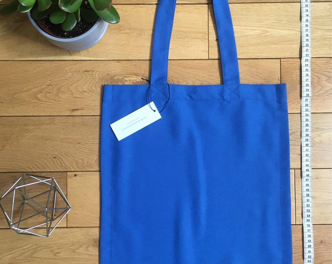 Bright Blue woven cotton drill Tote Bag