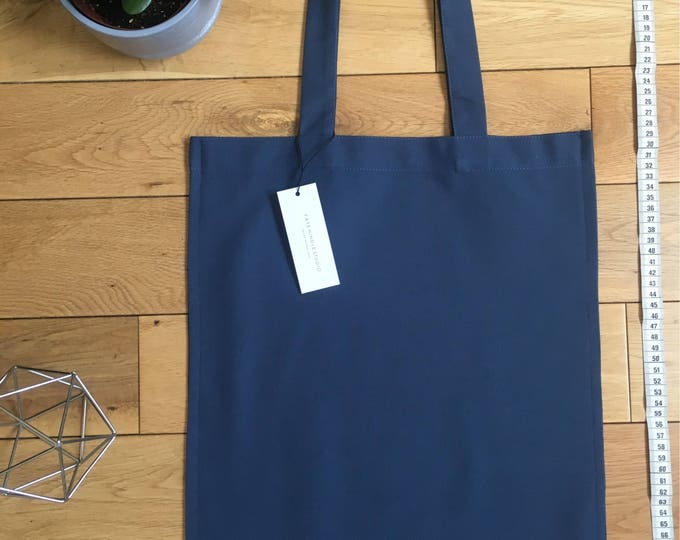 Heavy Blue woven cotton drill Tote Bag