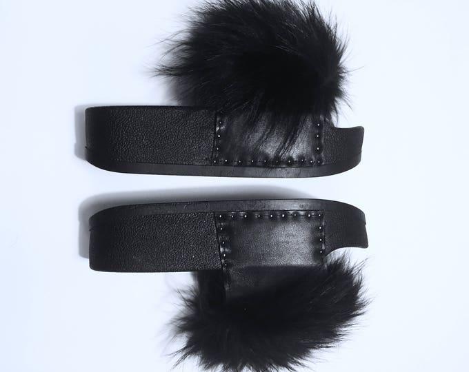 Black Raccoon Flatform Slides