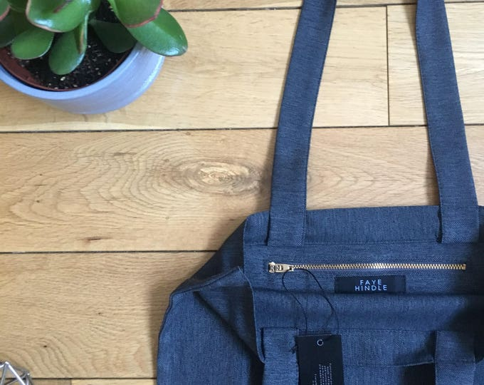 Lightweight suiting wool charcoal grey herringbone Tote Bag with zip compartment