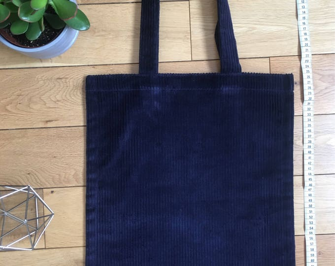 Heavyweight navy blue chuncky cord corduroy Tote Bag with zip compartment