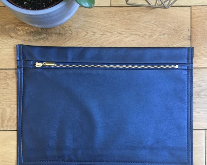 Blue Metallic Leather Pouch