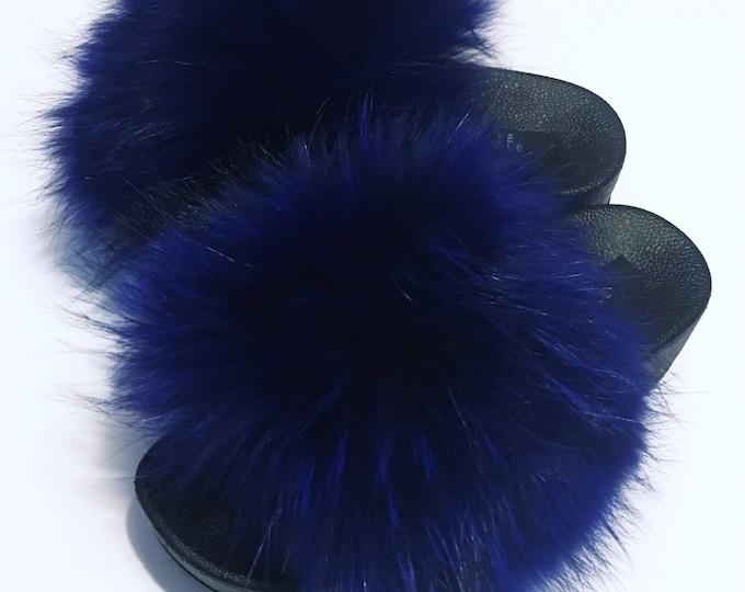 Blue leather stud Raccoon Flatform slides